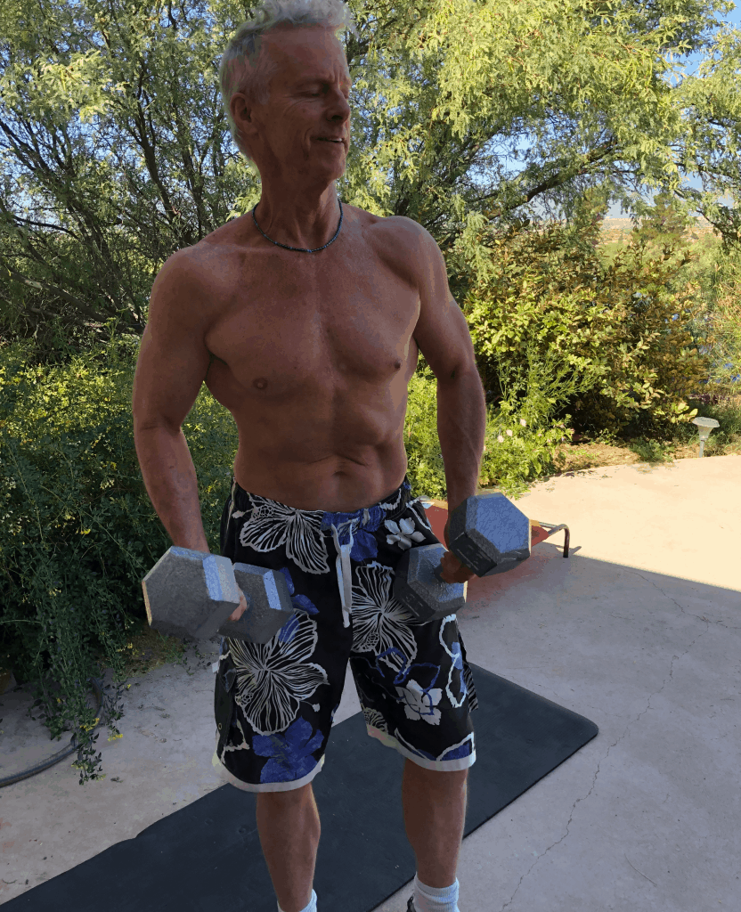heydayDo author Greg SImon getting ready to do his Dumbbell Exercises For Seniors workout