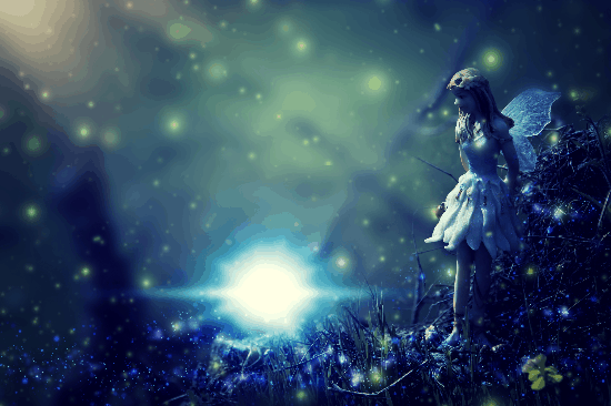 A fairy sprinkling fairy dust in a darkened forest