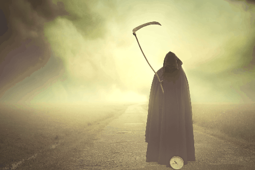 Grim Reaper on foggy road with a clock coming to claim skinny fat people