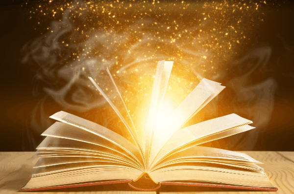 A magic book with a skinny fat workout plan has light and sparkles coming out of it