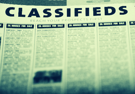 Used fitness equipment section of Classified Ads in a newspaper