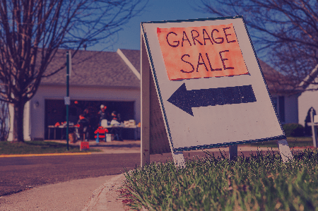 used fitness equipment for sale at a garage sale