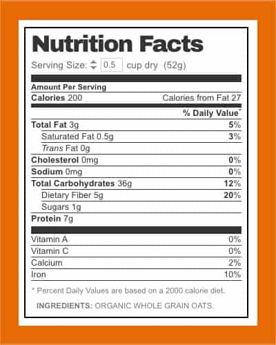Bobs Rolled Oats nutrition facts - heydayDo image