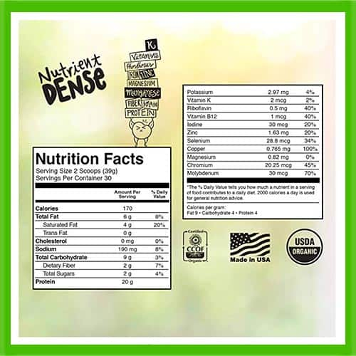 KOS Plant Based Protein Nutrition Facts - heydayDo image
