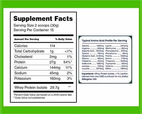 Opportuniteas Whey Isolate Nutrition Facts - heydayDo image