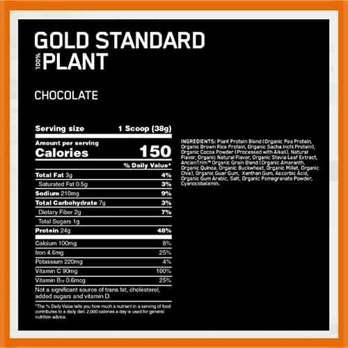 Optimum Nutrition Plant Based Protein NUtrition Facts - heydayDo image