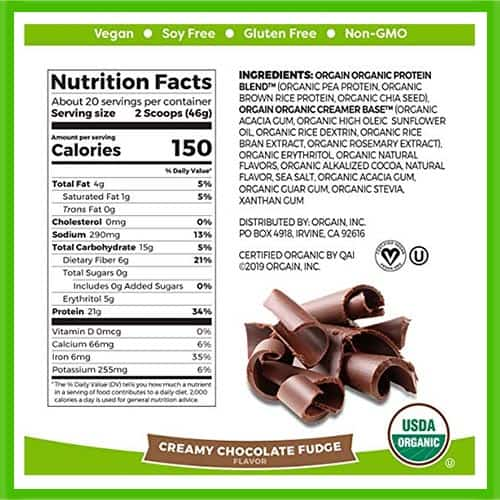 Orgain Plant Based Protein Nutrition Facts - heydayDo image