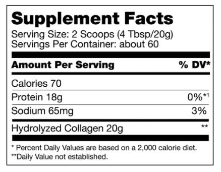 Bulletproof Collagen Protein supplement facts - heydayDo image6