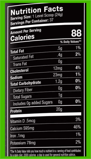 Muscle Feast Casein nutrition facts - heydayDo image