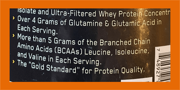 Optimum Nutrition Whey BCAA label - heydayDo image
