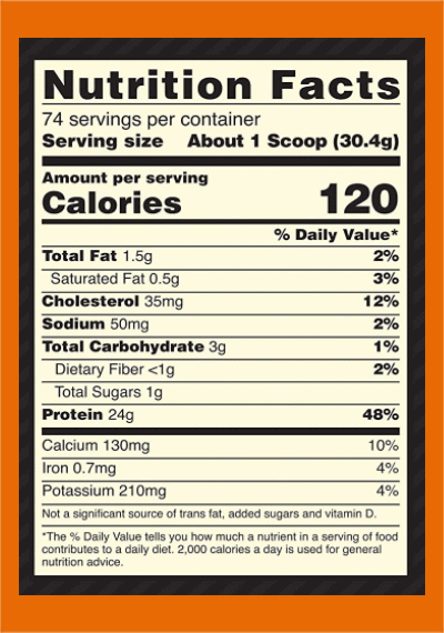 Optimum Nutrition Whey nutrition facts - heydayDo image