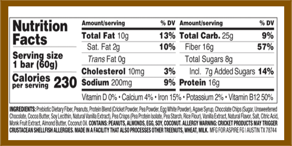 Exo cricket protein bar nutrition facts - heydayDo image