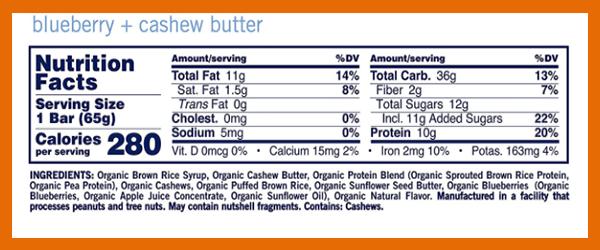 GoMacro Macrobar nutrition facts - heydayDo image