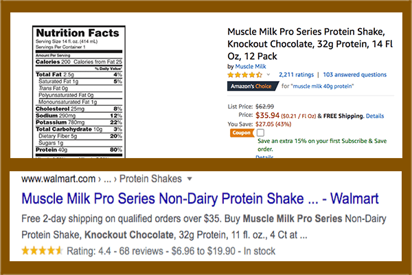 Muscle Milk Pro Series listings on Amazon and Walmart showing 32g and 40g protein servings - heydayDo image