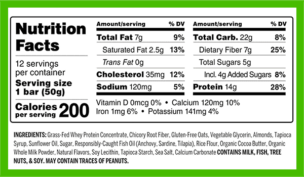 Oatmega protein bar nutrition facts - heydayDo image