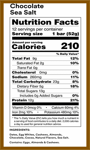 Rx Bar Chocolate Sea Salt nutrition facts - heydayDo image