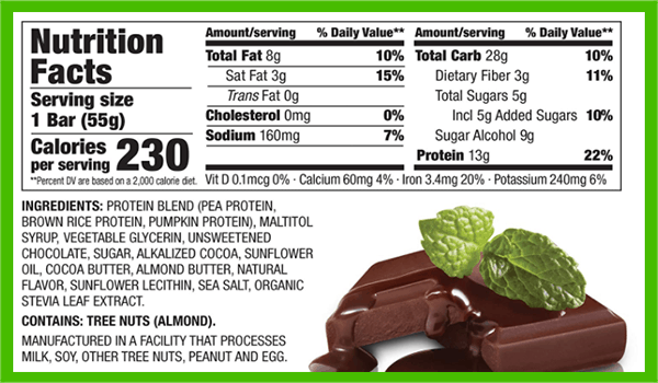 thinkTHIN vegan protein bar nutrition facts - heydayDo image