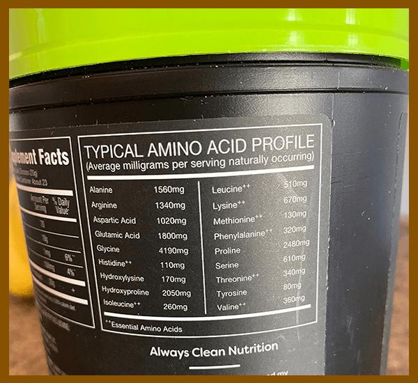 Orgain Collagen Peptides amino acid profile - heydayDo image