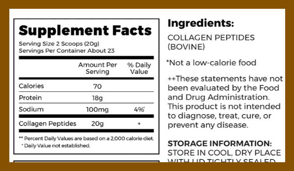 Orgain Collagen Peptides supplement facts - heydayDo image