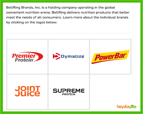 BellRing Brands product lines - parent co. of Dymatize - heydayDo image