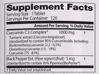 Doctors Best Curcumin Supplement Facts - heydayDo image