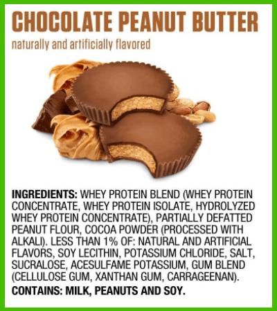Dymatize Elite Chocolate Peanut Butter ingredients - heydayDo image