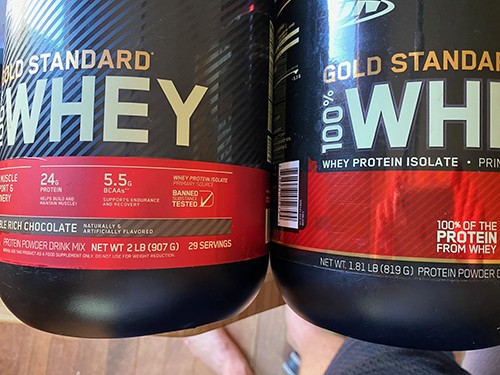 Gold Standard weight comparison Salted Caramel vs Double Rich Chocolate - heydayDo image