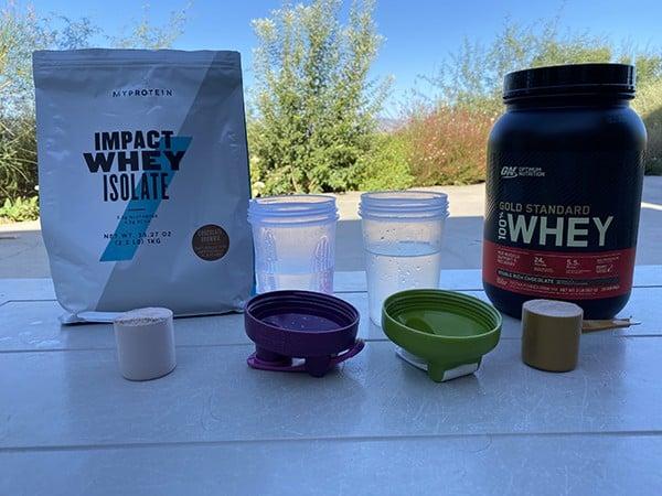 MyProtein Impact Whey Isolate vs Optimum Nutrition Gold Standard - taste test 2 heydayDo image