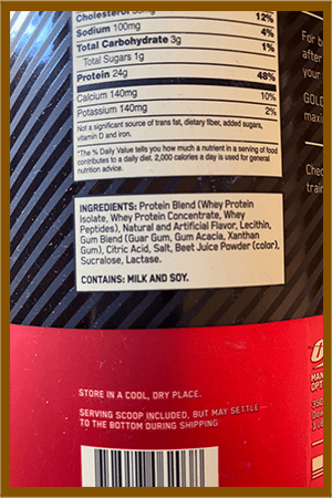 Optimum Nutrition Gold Standard allergen disclosure - heydayDo image