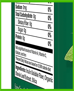 SweetLeaf stevia ingredients - heydayDo image