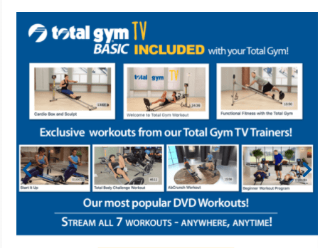 Total Gym TV workouts included with purchase - heydayDo image
