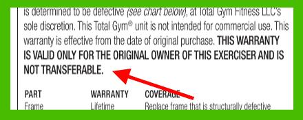 Total Gym warranty is non-transferable - heydayDo image