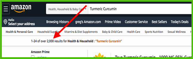 Turmeric Curcumin product search results on Amazon - heydayDo image